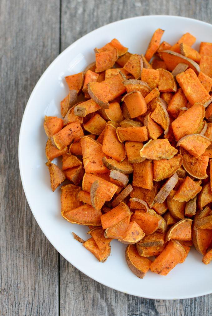 Curry roasted sweet potatoes