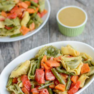 Roasted Vegetable Pasta Salad with Maple Mustard Dressing