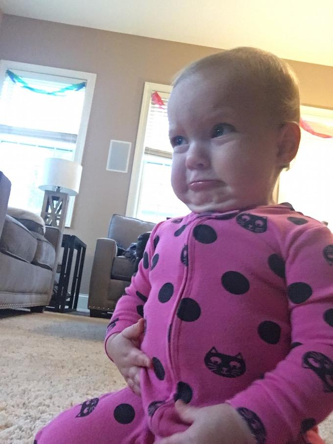pouty lip one year old