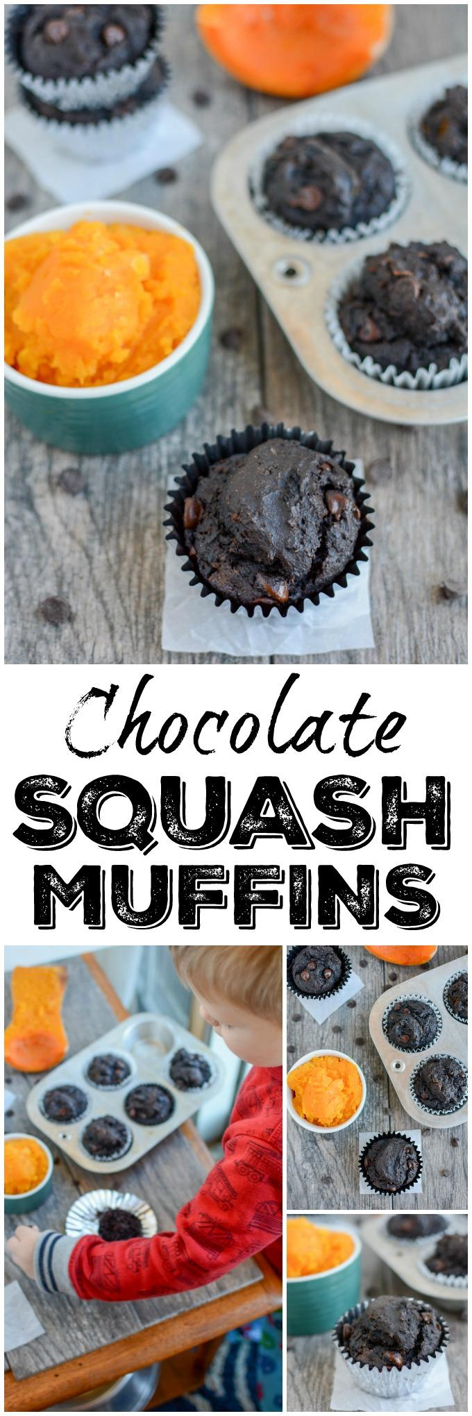 These Chocolate Squash Muffins can be eaten on the run for a grab and go breakfast and also make an easy, kid-friendly snack!