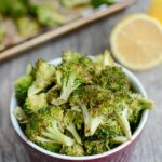 This Lemon Roasted Broccoli recipe is a simple, healthy dinner side dish. Ready in just 10 minutes and made with only 3 ingredients, this recipe is sure to be a hit!
