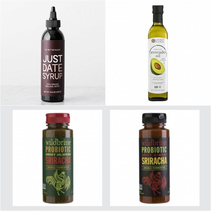 foods to try - date syrup, avocado oil, probiotic sriracha