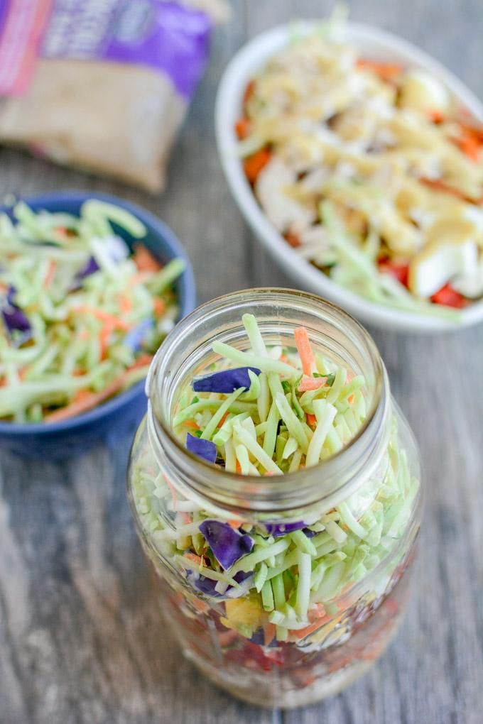 Broccoli Coleslaw Salad with chicken and honey mustard dressing
