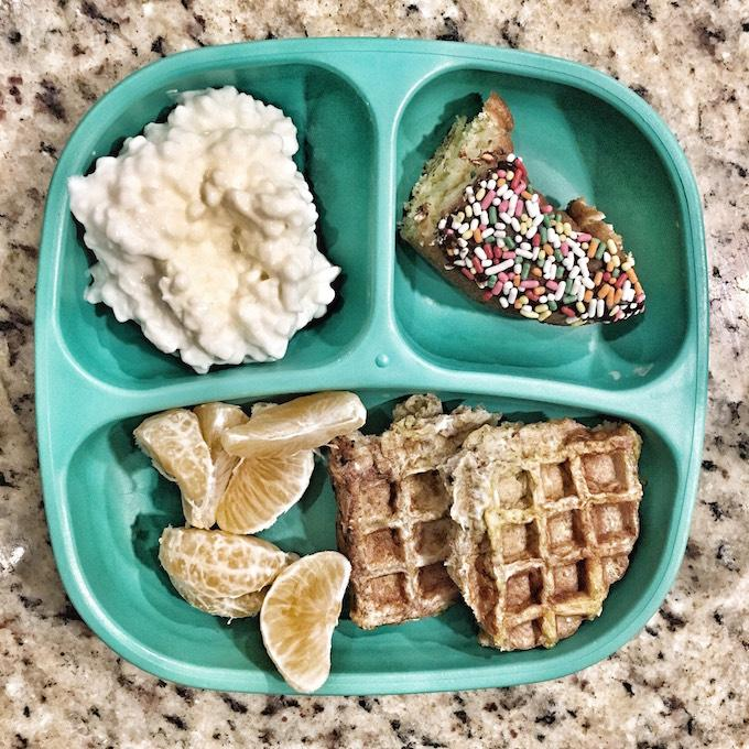 toddler breakfast with waffles and donut