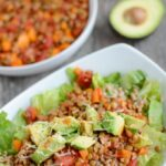 This Lentil Taco Salad is an easy vegan dinner that's perfect for your next Taco Tuesday! Lentils make a great substitute for ground meat if you're looking to transition to more plant-based meals.