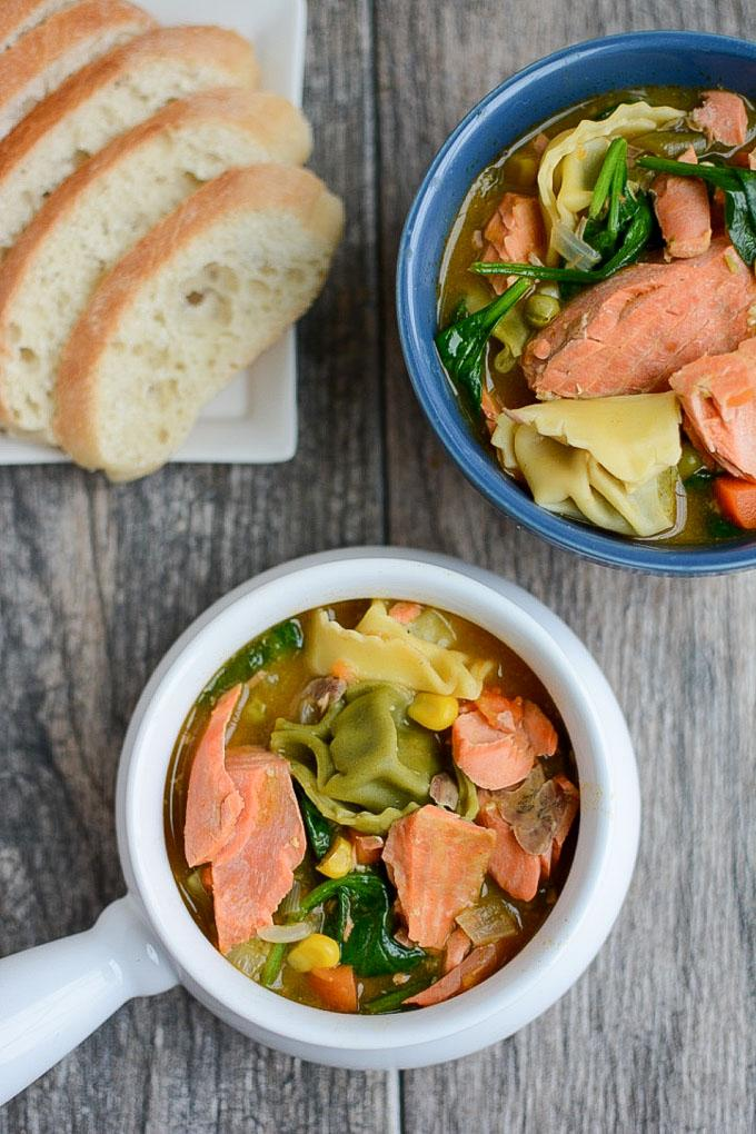 Instant Pot Salmon Tortellini Soup with vegetables