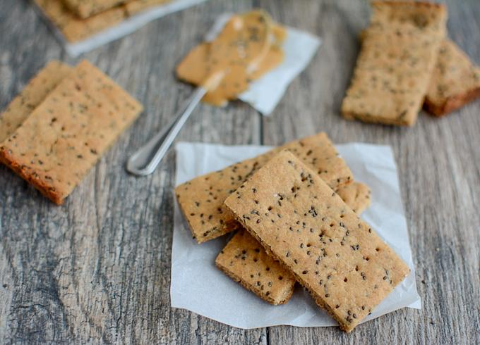 Peanut Butter Chia Crackers made with white whole wheat flour horizontal photo