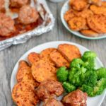 Sheet Pan BBQ Meatballs with Sweet Potatoes and Broccoli for dinner