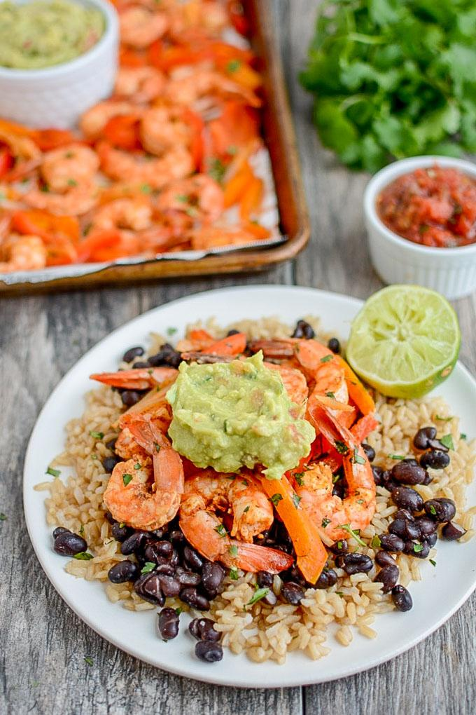 These Sheet Pan Shrimp Fajitas are quick, easy and perfect for dinner on a busy night. They cook quickly and make great leftovers for lunch or dinner later in the week.