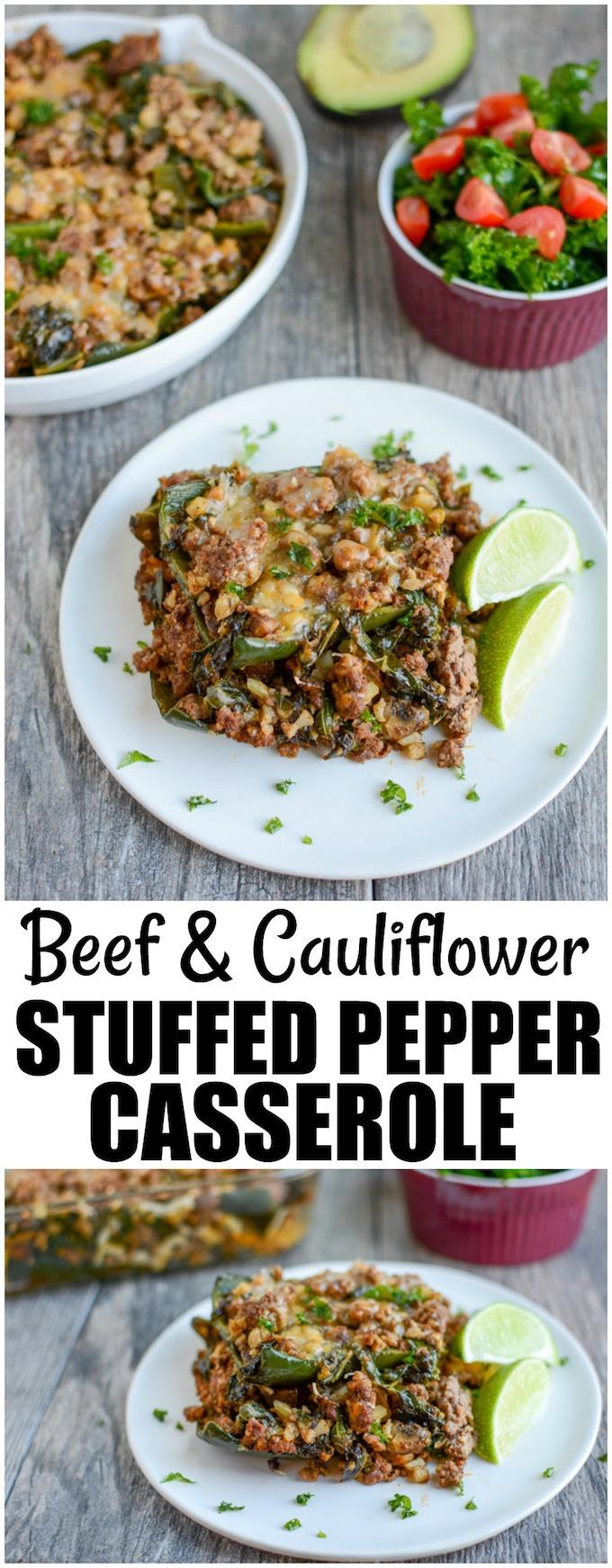 This gluten-free Beef and Cauliflower Stuffed Pepper Casserole is a low-carb dinner recipe that's also great for lunch! A flavorful mixture of ground beef and cauliflower rice is layered with cheese and poblano peppers instead of stuffed into traditional bell peppers.