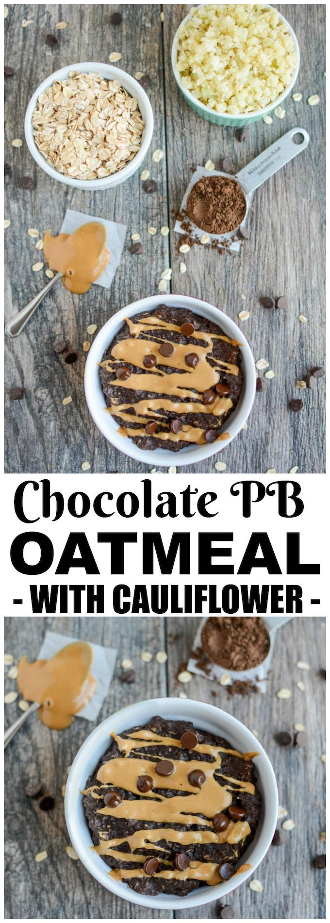 This Chocolate Peanut Butter Cauliflower Oatmeal will be a hit with kids and adults. Give your regular breakfast bowl of oats some added nutrients by blending in some steamed cauliflower!