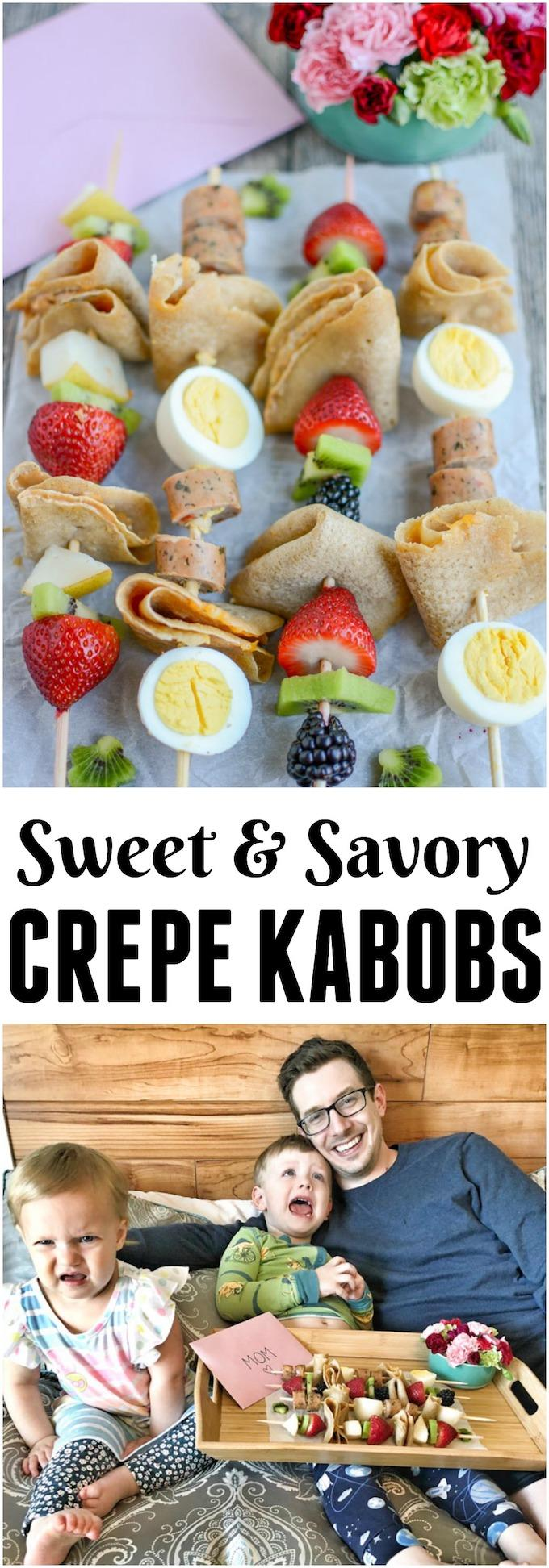 (#AD) These Crepe Kabobs are a great way to get kids in the kitchen and they'd make the perfect Mother's Day treat! Make one quick stop at @Meijerstores to grab all the ingredients, plus a card, flowers and even a cute tray to serve her breakfast in bed!