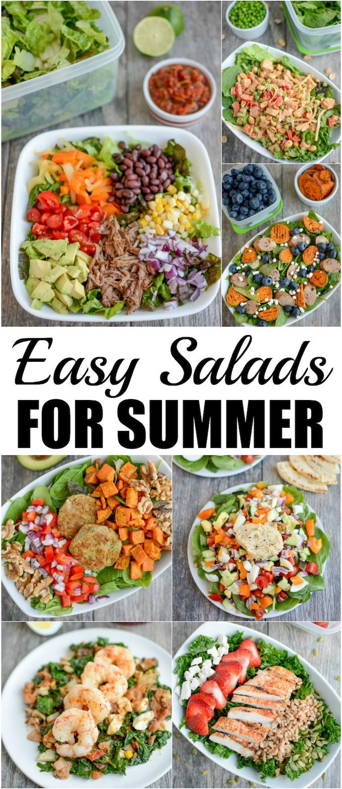 Looking for some easy Salad Recipes For Summer? Here are 7 healthy salads that come together quickly for lunch or dinner. Keep your produce fresh ahead of time with Rubbermaid FreshWorks containers for the best salads possible!