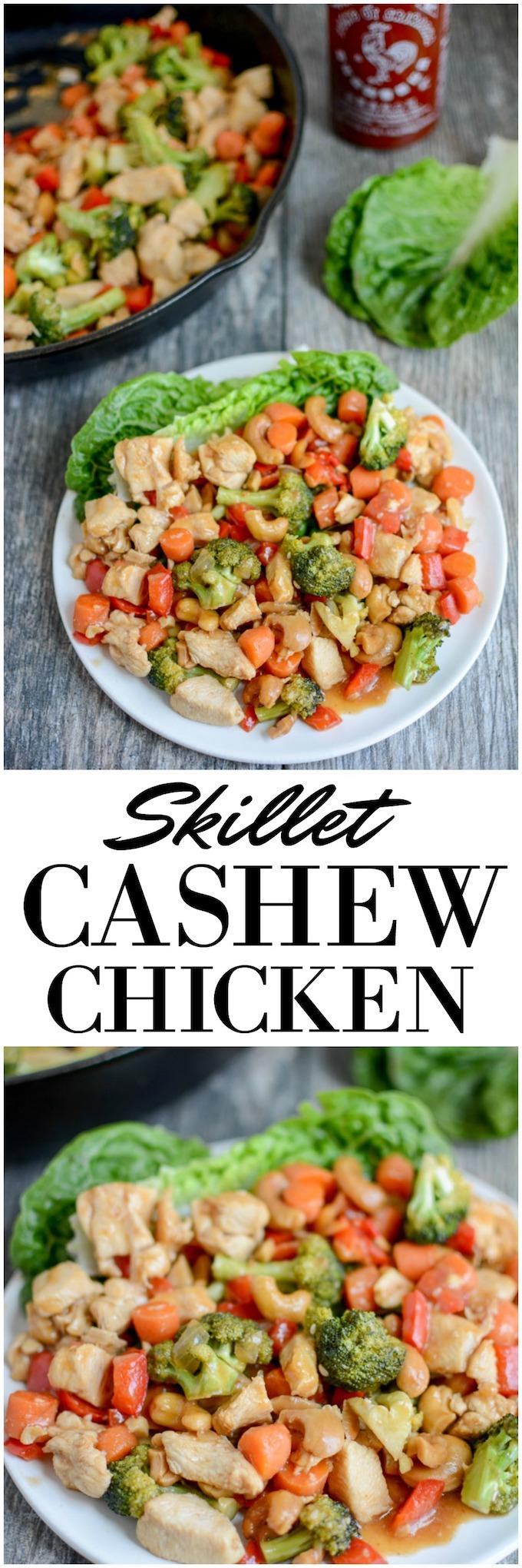 This Skillet Cashew Chicken is the perfect one-pan dinner. It comes together quickly and is full of flavor. Make it spicy or mild and serve it in lettuce wraps or over rice!