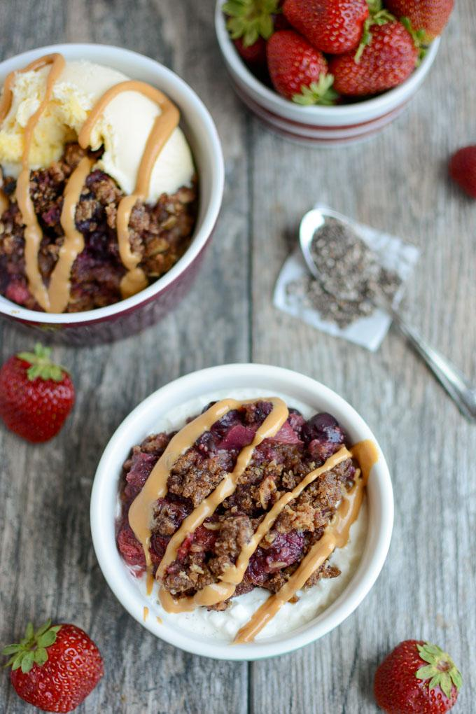 Healthy Fruit Crisp served over cottage cheese and drizzle with peanut butter.