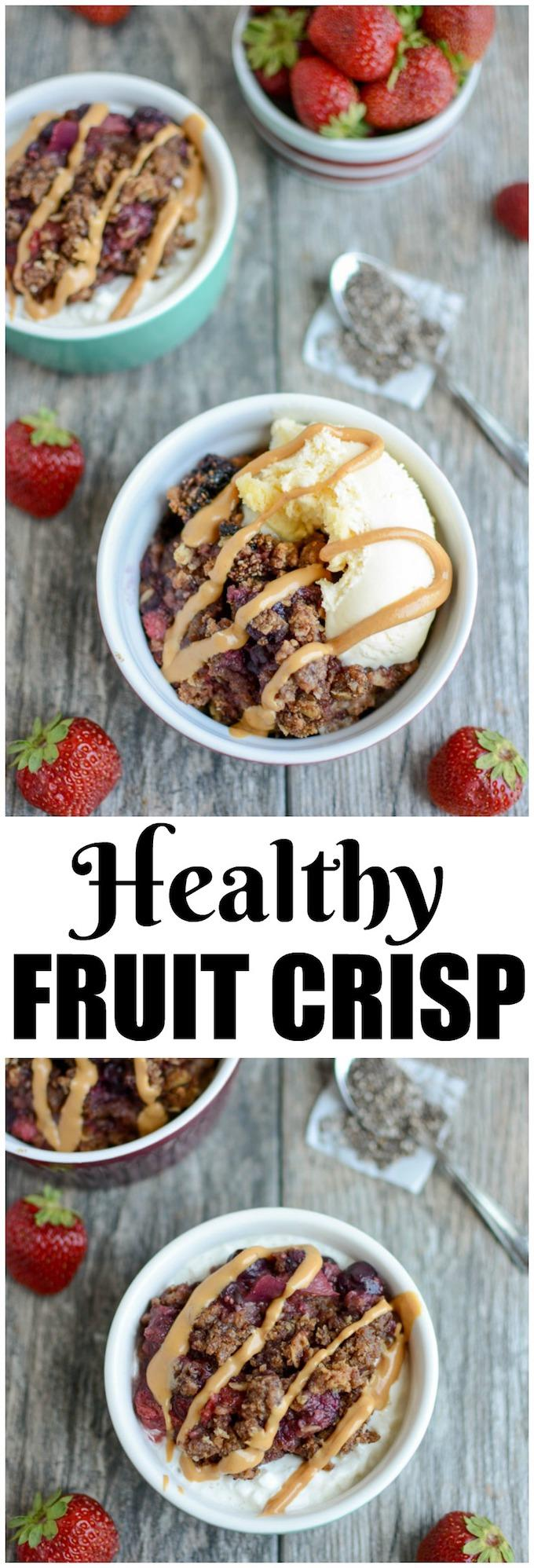 This Healthy Fruit Crisp can be made in the slow cooker or in the oven. It's low in added sugar and packed with fiber and healthy fats. Serve it over yogurt or cottage cheese for breakfast or with ice cream for dessert.