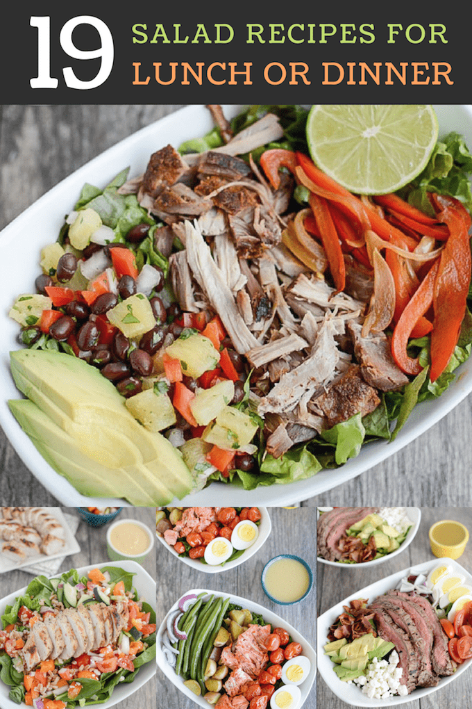 Looking for some salad recipes for lunch or dinner? These hearty salads are packed with fiber, protein, healthy fats and lots of veggies. Perfect for a quick summer meal!