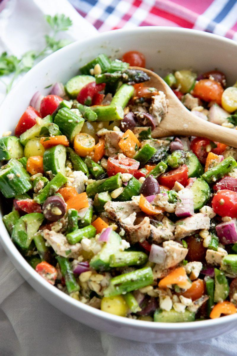 Grilled Chicken & Asparagus Chopped Greek Salad