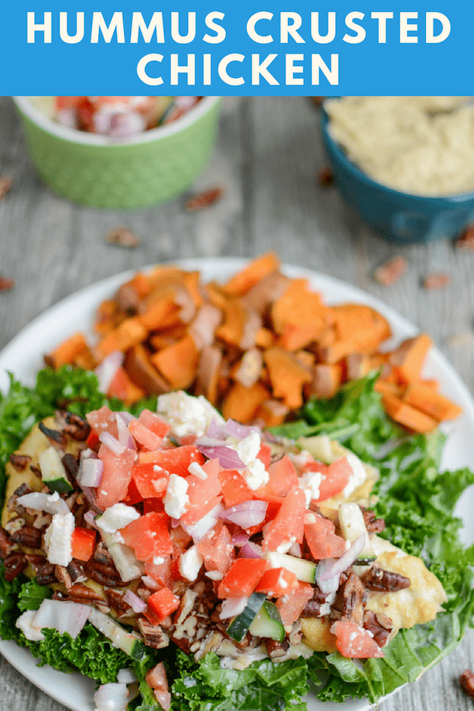 This Hummus Crusted Chicken recipe is a quick, healthy recipe that's perfect for lunch or dinner. Serve it with a side of rice, throw it in a wrap or pita or serve it over a bed of greens.