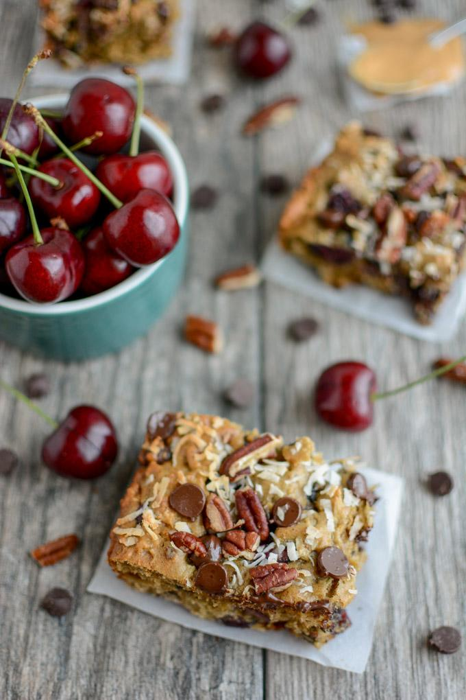 Sweet Cherry Oat Bars with sweet cherries, chocolate chips, pecans and coconut