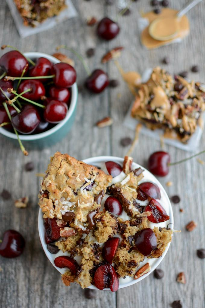 Sweet Cherry Oat Bar crumbled over yogurt