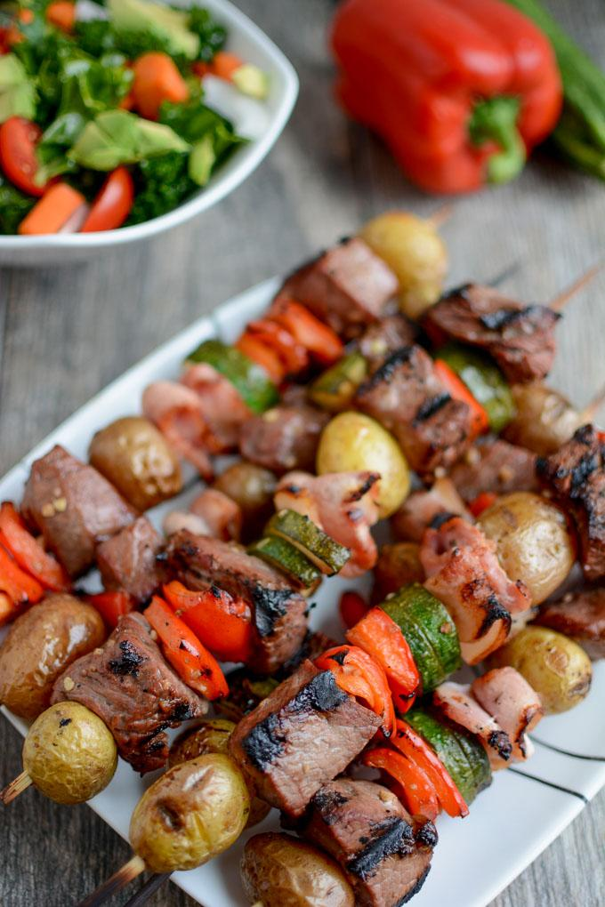 Grilled Steak and Potato Kabobs with zucchini and red peppers