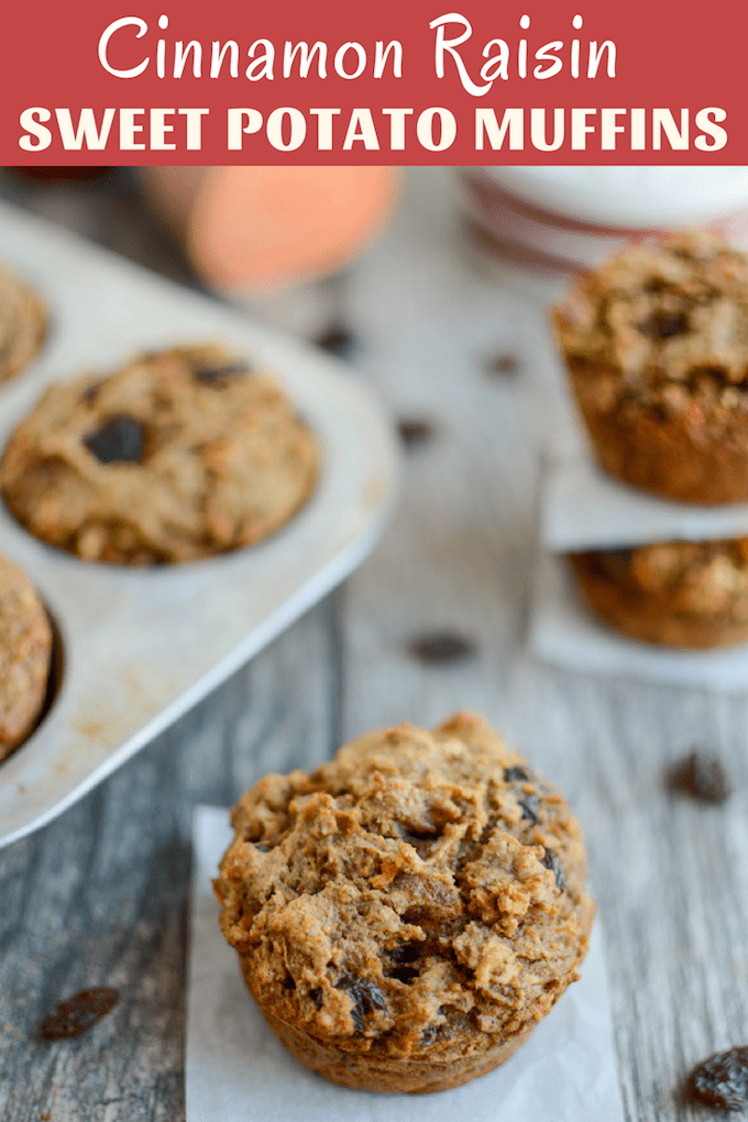 These kid-friendly Cinnamon Raisin Sweet Potato Muffins are packed with fiber and perfect for breakfast, lunch boxes or an after-school snack! They're nut-free and can easily be made dairy-free!