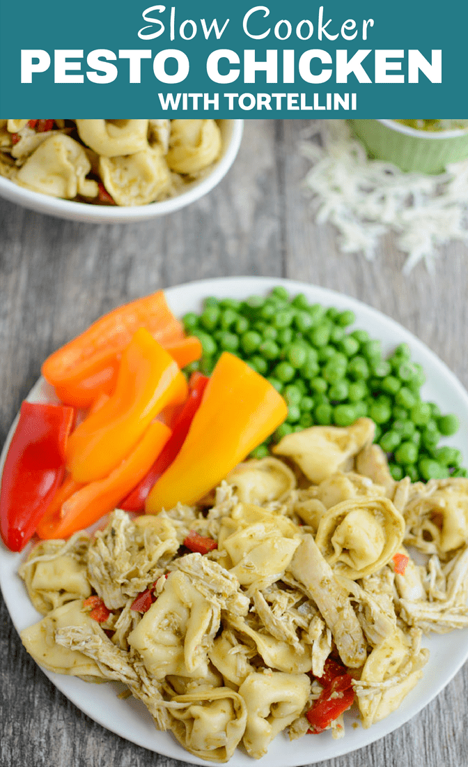This Slow Cooker Pesto Chicken Tortellini is so easy to throw together for an easy dinner that practically cooks itself! It's freezer-friendly, kid-friendly and the perfect gift for new moms or busy families.