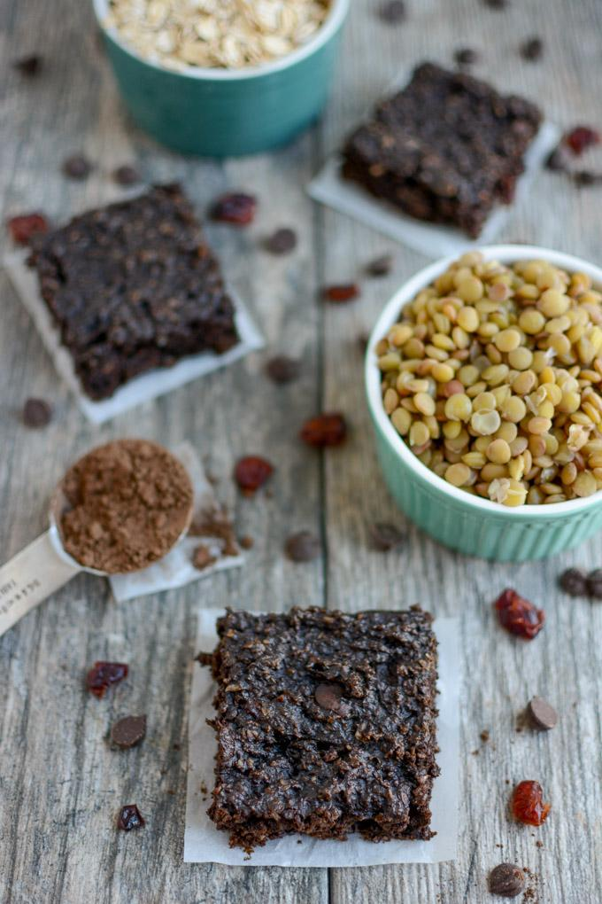 Chocolate Lentil Bars - snack full of protein and fiber