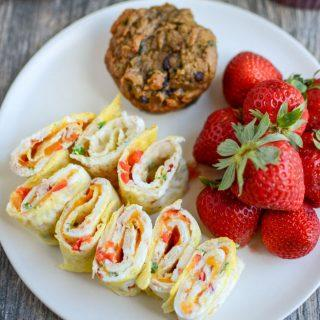 Omelet spirals for a quick, healthy breakfast or lunch