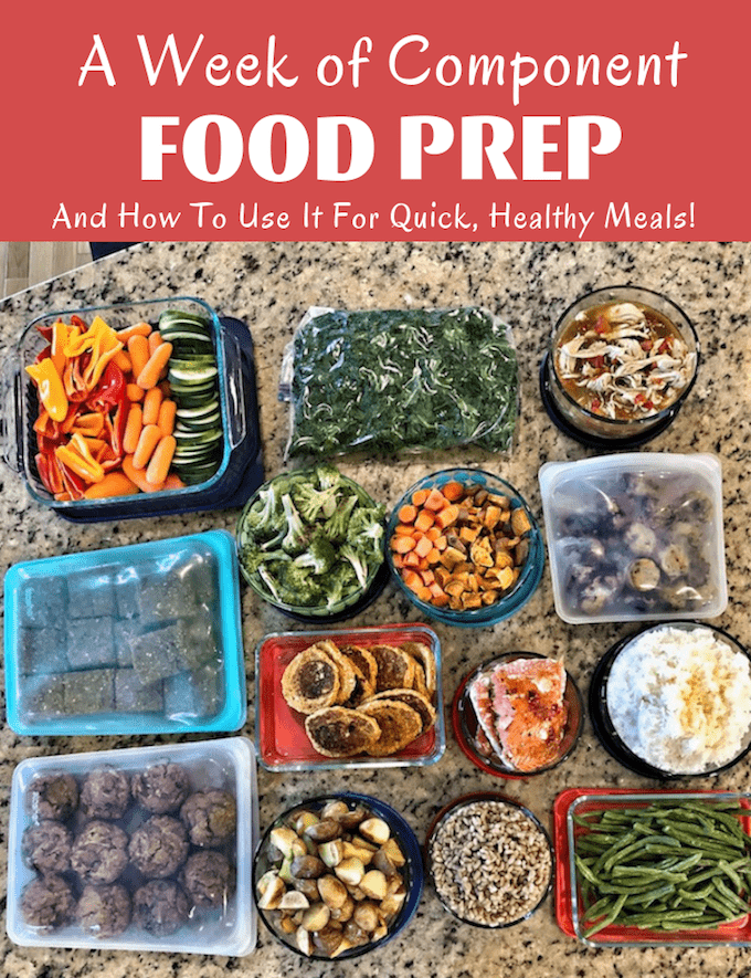 A week of component food prep from a registered dietitian and how to use it for quick, healthy meals during the week
