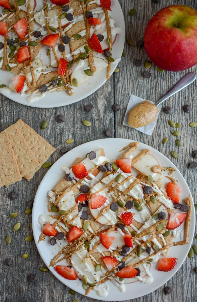 Apple Graham Cracker Snack Nachos with fresh strawberries