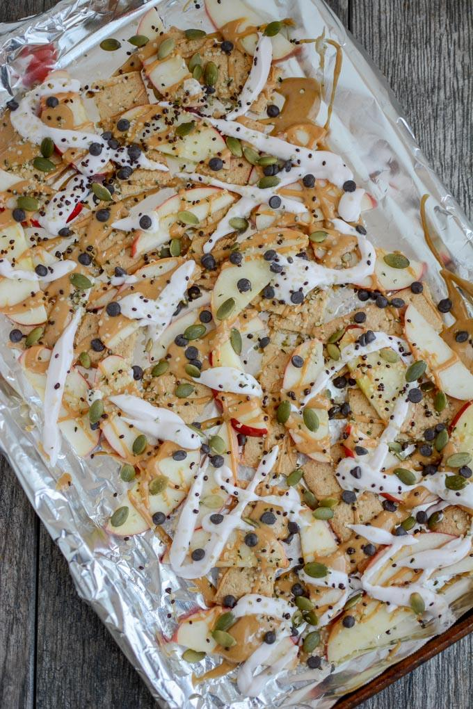sheet tray apple graham snack nachos