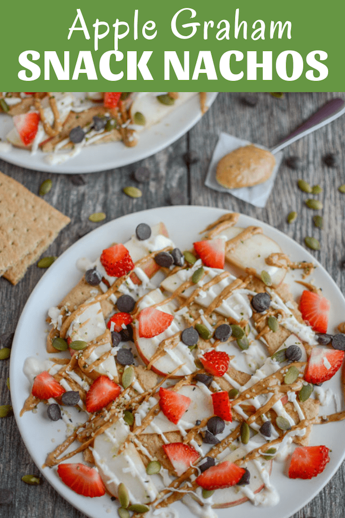 These Apple Graham Cracker Snack Nachos are a fun after school treat for the kids. A great way to mix familiar and new foods and make eating fun!