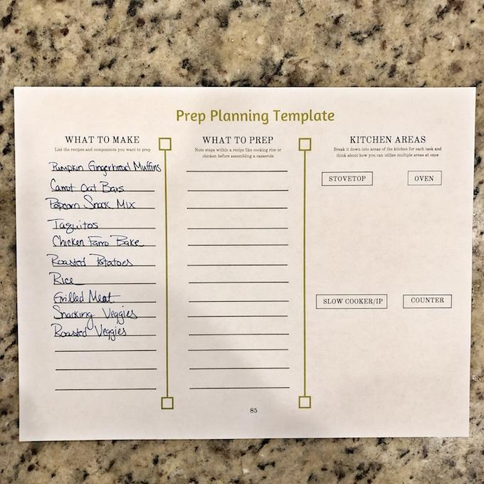 food prep list