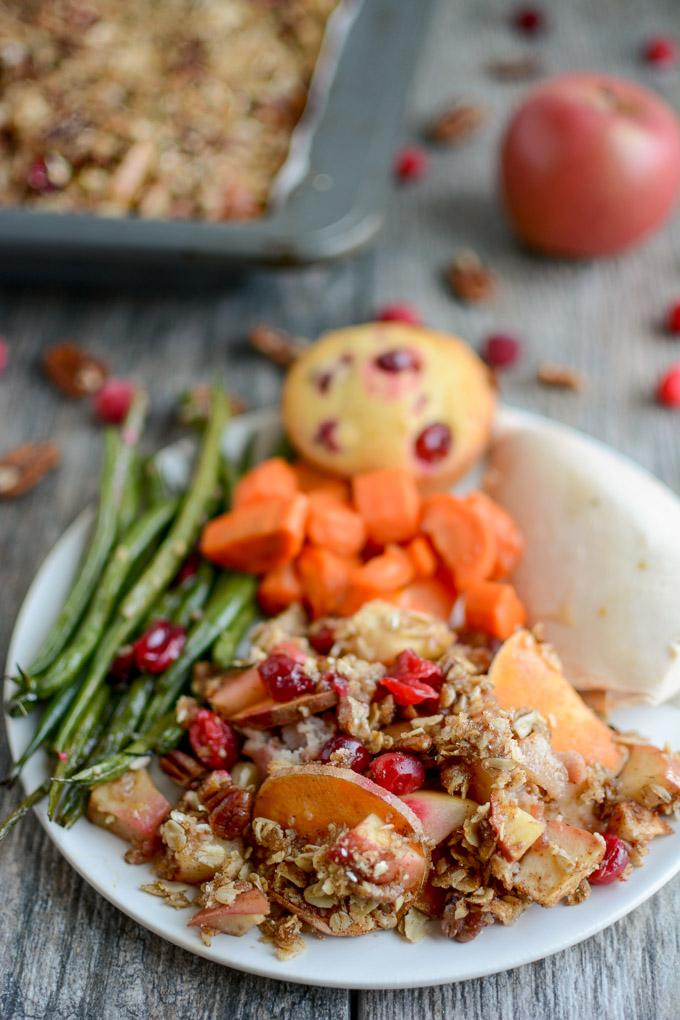 Sweet Potato Apple Cranberry Crumble with oat topping