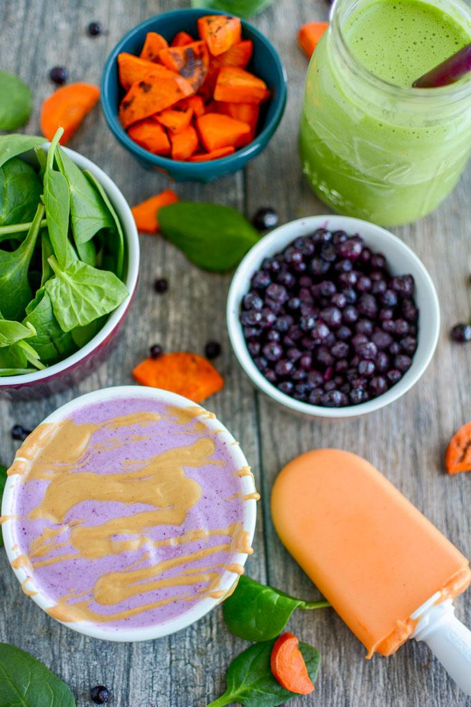 Kid-friendly smoothies with vegeteables, carrot smoothie popsicle