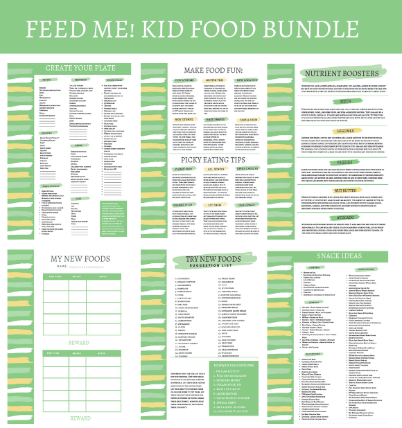 This Resources for Feeding Kids PDF bundle is designed to make feeding toddlers and young kids easier. Bundle includes a Create Your Plate guide, tips for picky eaters, snack ideas and a printable chart to encourage them to try new foods!