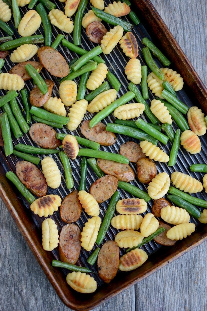 Sheet Pan Gnocchi with Sausage and Green Beans pan shot