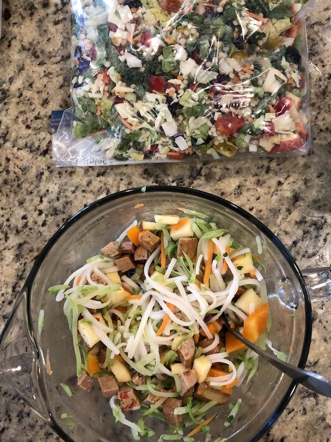 kale salad and cold noodle salad