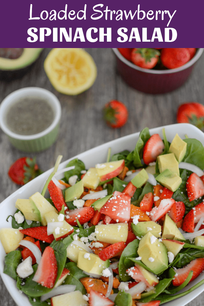 This Loaded Strawberry Spinach Salad is a summer favorite. Serve it as a side dish or add some protein and make it an easy lunch or dinner.