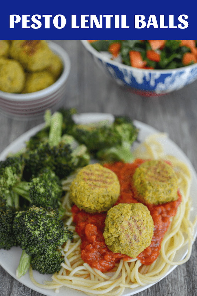 These Pesto Lentil Balls are a great food prep option for an easy, vegetarian lunch or dinner. Make them ahead of time and serve with dipping sauce, over spaghetti noodles or on a salad!