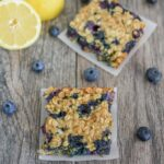 Lemon Blueberry Cheesecake Oat Bars two squares