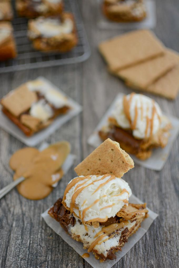 Easy Peanut Butter S'mores Bars with scoop of ice cream