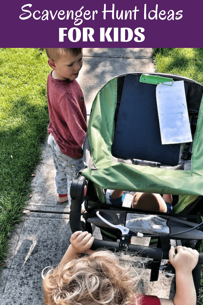 Use these easy Scavenger Hunt Ideas For Kids to get them excited about spending time outside! They can help make walks more interesting, teach them about nature and are great for practicing things like numbers and colors!