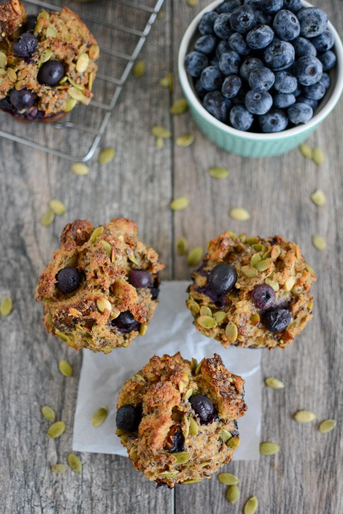overhead blueberry french toast muffins