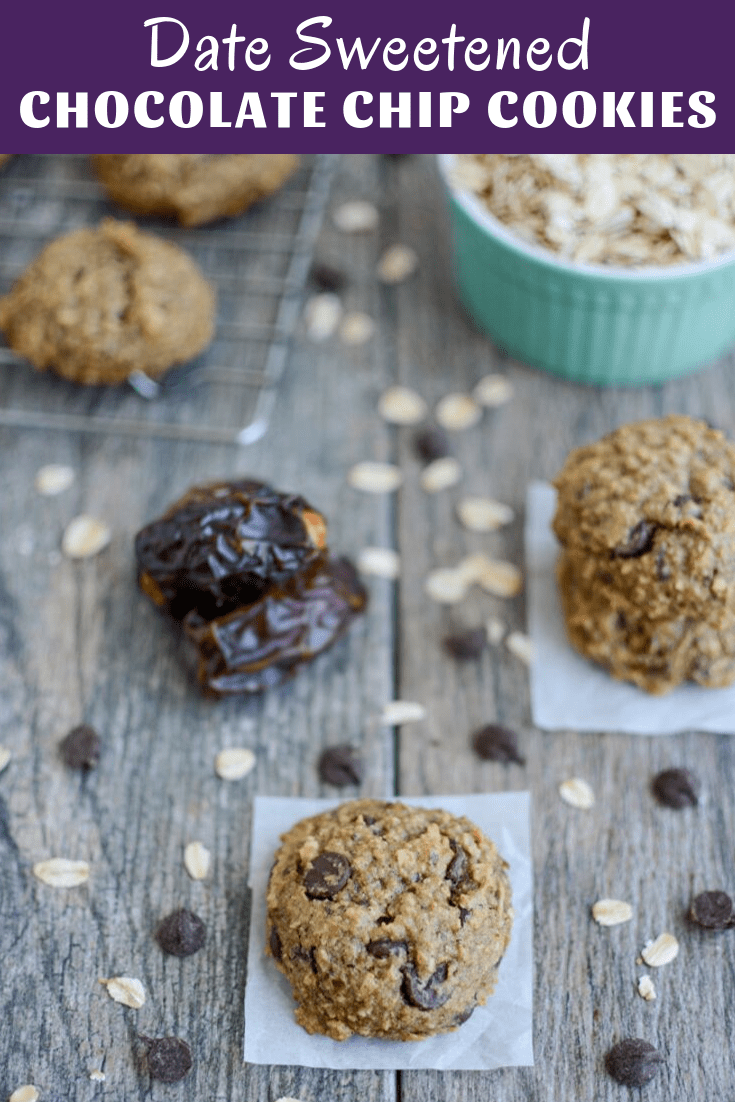 These Date Sweetened Chocolate Chip Cookies are naturally sweetened with dates and made with just a few simple ingredients! They're perfect for dessert or an afternoon snack!