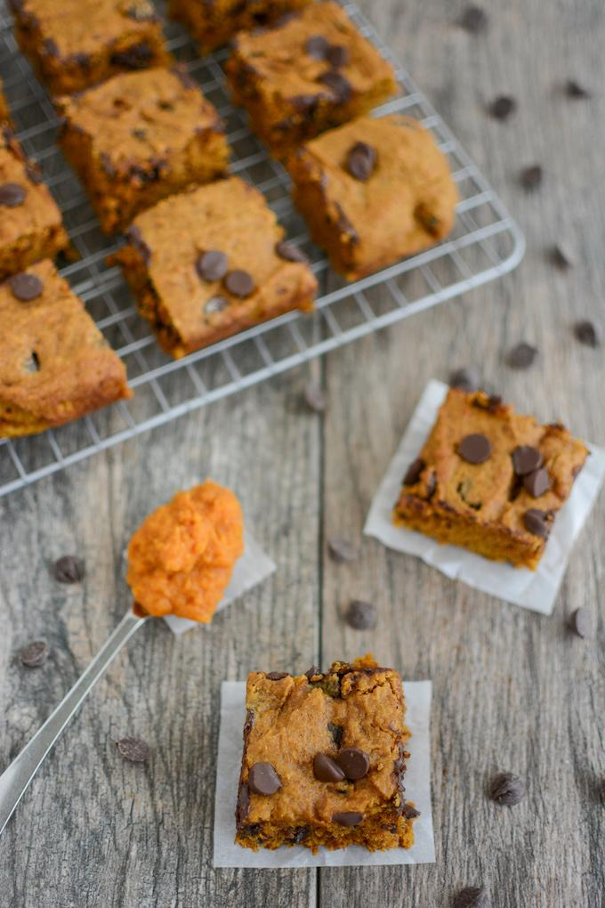 Overhead shot of dairy-free pumpkin bars with chocolate chips