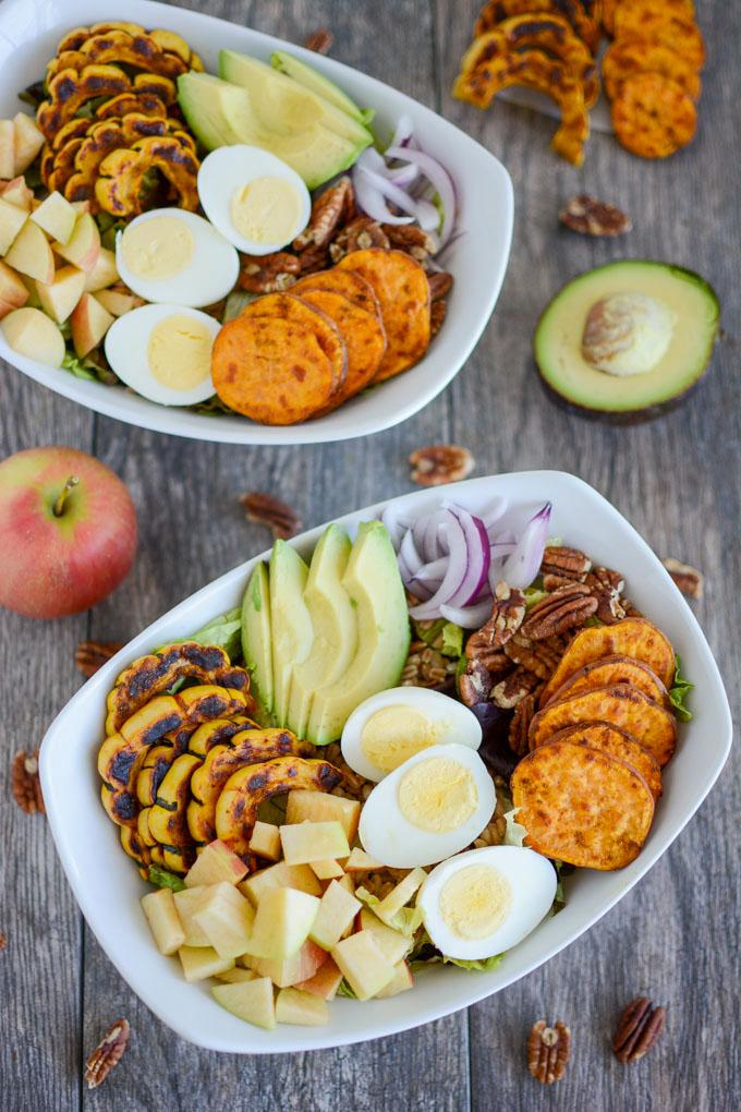 overhead shot of two Roasted Squash Fall Salads