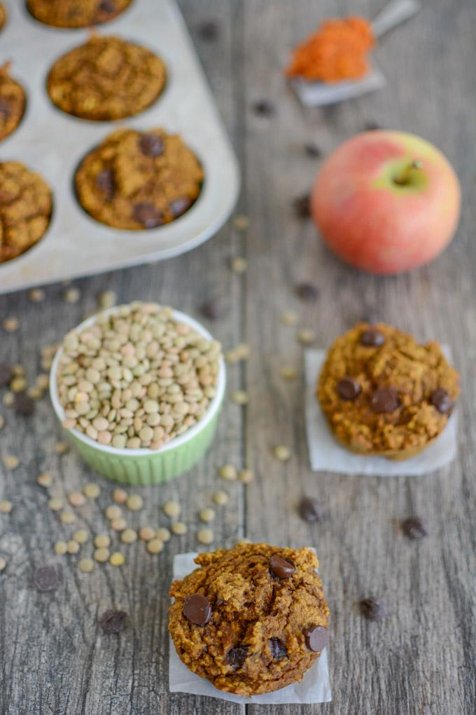 Pumpkin Apple Lentil Muffins